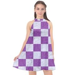 Square1 White Marble & Purple Denim Halter Neckline Chiffon Dress