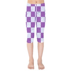 Square1 White Marble & Purple Denim Kids  Capri Leggings