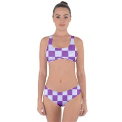 Square1 White Marble & Purple Denim Criss Cross Bikini Set