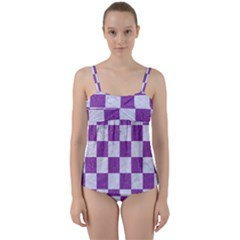 Square1 White Marble & Purple Denim Twist Front Tankini Set