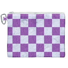 Square1 White Marble & Purple Denim Canvas Cosmetic Bag (xxl) by trendistuff