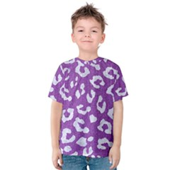 Skin5 White Marble & Purple Denim (r) Kids  Cotton Tee