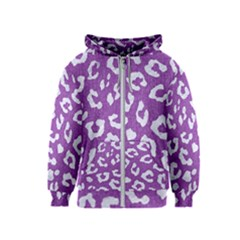 Skin5 White Marble & Purple Denim (r) Kids  Zipper Hoodie