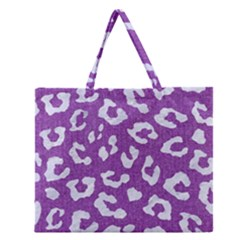 Skin5 White Marble & Purple Denim (r) Zipper Large Tote Bag