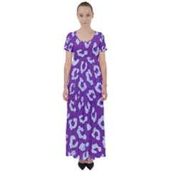 Skin5 White Marble & Purple Denim (r) High Waist Short Sleeve Maxi Dress