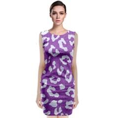 Skin5 White Marble & Purple Denim (r) Classic Sleeveless Midi Dress