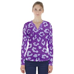 Skin5 White Marble & Purple Denim (r) V Neck Long Sleeve Top