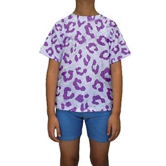 Skin5 White Marble & Purple Denim Kids  Short Sleeve Swimwear