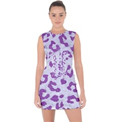 Skin5 White Marble & Purple Denim Lace Up Front Bodycon Dress
