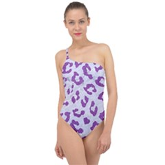 Skin5 White Marble & Purple Denim Classic One Shoulder Swimsuit