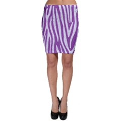 Skin4 White Marble & Purple Denim (r) Bodycon Skirt