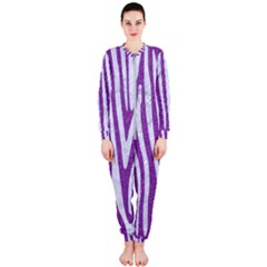Skin4 White Marble & Purple Denim (r) Onepiece Jumpsuit (ladies)