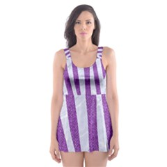 Skin4 White Marble & Purple Denim (r) Skater Dress Swimsuit
