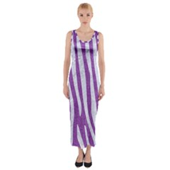 Skin4 White Marble & Purple Denim (r) Fitted Maxi Dress