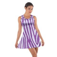 Skin4 White Marble & Purple Denim (r) Cotton Racerback Dress