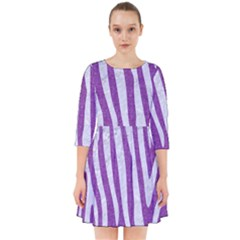 Skin4 White Marble & Purple Denim (r) Smock Dress