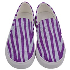 Skin4 White Marble & Purple Denim (r) Men s Canvas Slip Ons