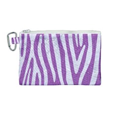 Skin4 White Marble & Purple Denim (r) Canvas Cosmetic Bag (medium)