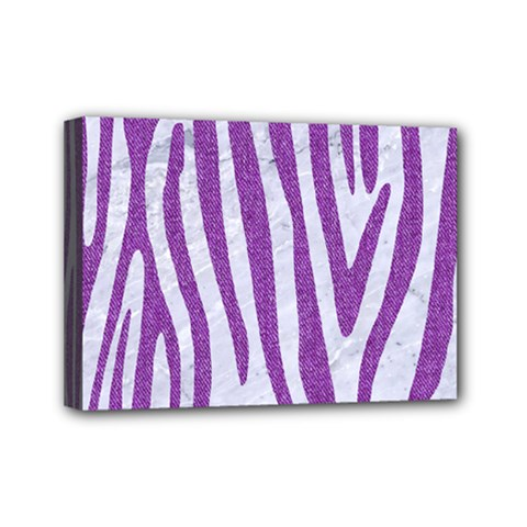Skin4 White Marble & Purple Denim Mini Canvas 7  X 5  by trendistuff