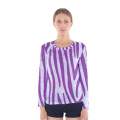 Skin4 White Marble & Purple Denim Women s Long Sleeve Tee