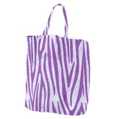 Skin4 White Marble & Purple Denim Giant Grocery Zipper Tote