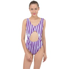 Skin4 White Marble & Purple Denim Center Cut Out Swimsuit