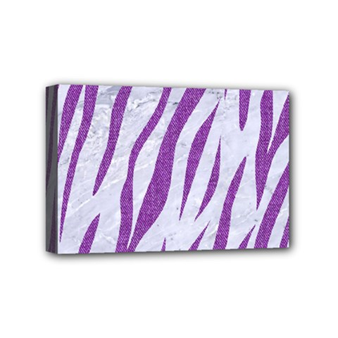 Skin3 White Marble & Purple Denim (r) Mini Canvas 6  X 4