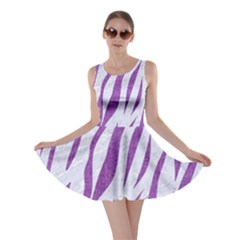 Skin3 White Marble & Purple Denim (r) Skater Dress