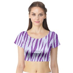 Skin3 White Marble & Purple Denim (r) Short Sleeve Crop Top