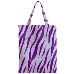 Skin3 White Marble & Purple Denim (r) Zipper Classic Tote Bag