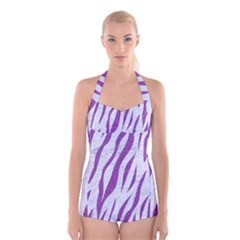 Skin3 White Marble & Purple Denim (r) Boyleg Halter Swimsuit