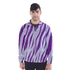Skin3 White Marble & Purple Denim (r) Wind Breaker (men)