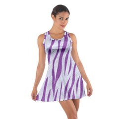 Skin3 White Marble & Purple Denim (r) Cotton Racerback Dress