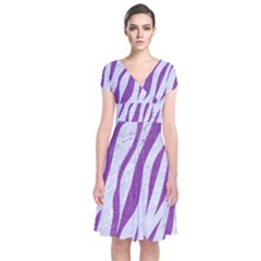 Skin3 White Marble & Purple Denim (r) Short Sleeve Front Wrap Dress