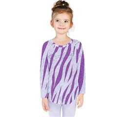 Skin3 White Marble & Purple Denim (r) Kids  Long Sleeve Tee