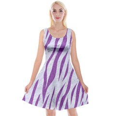 Skin3 White Marble & Purple Denim (r) Reversible Velvet Sleeveless Dress