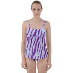 Skin3 White Marble & Purple Denim (r) Twist Front Tankini Set