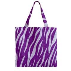 Skin3 White Marble & Purple Denim Zipper Grocery Tote Bag