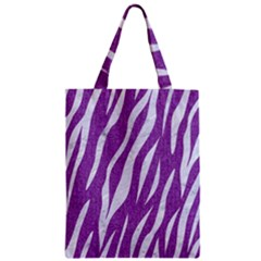 Skin3 White Marble & Purple Denim Zipper Classic Tote Bag