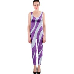 Skin3 White Marble & Purple Denim One Piece Catsuit