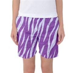 Skin3 White Marble & Purple Denim Women s Basketball Shorts