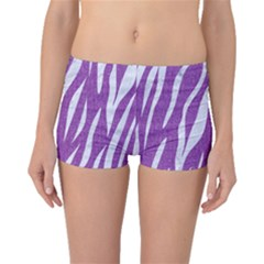 Skin3 White Marble & Purple Denim Boyleg Bikini Bottoms