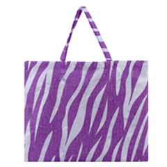 Skin3 White Marble & Purple Denim Zipper Large Tote Bag