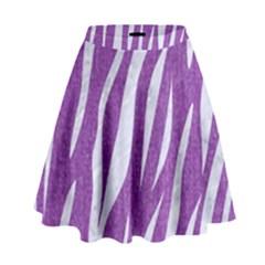 Skin3 White Marble & Purple Denim High Waist Skirt