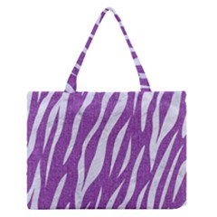 Skin3 White Marble & Purple Denim Zipper Medium Tote Bag