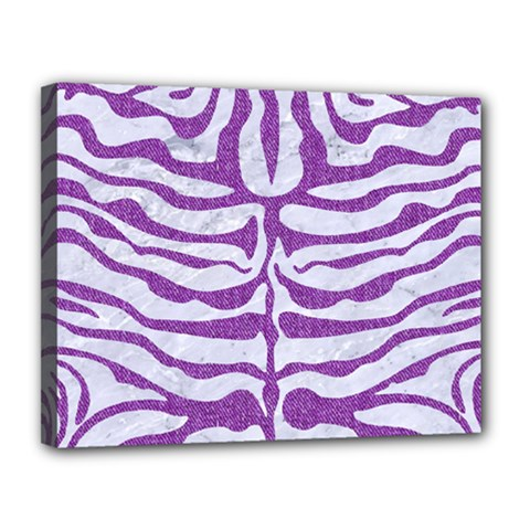 Skin2 White Marble & Purple Denim (r) Canvas 14  X 11