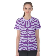Skin2 White Marble & Purple Denim (r) Women s Cotton Tee