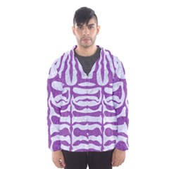 Skin2 White Marble & Purple Denim (r) Hooded Wind Breaker (men)