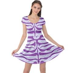 Skin2 White Marble & Purple Denim (r) Cap Sleeve Dress