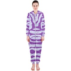Skin2 White Marble & Purple Denim (r) Hooded Jumpsuit (ladies)